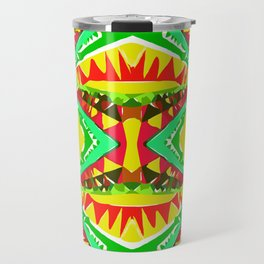 psychedelic geometric abstract pattern background in yellow red green Travel Mug
