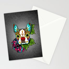 Boston Terrier in Red - Day of the Dead Sugar Skull Dog Stationery Cards