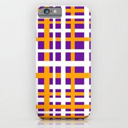 Purple & Orange Interlocking Stripes iPhone Case