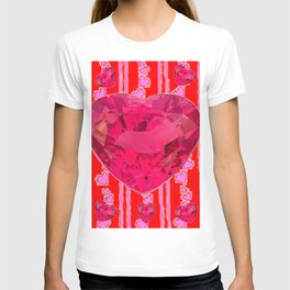PINK JEWELED RED VALENTINE HEARTS  DESIGN T-shirt