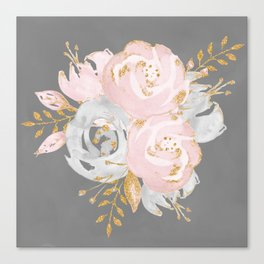 Night Rose Garden Gray Canvas Print