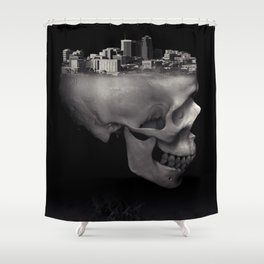 Urban Skull Horror Black and White City Shower Curtain
