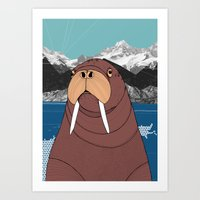 walrus Art Prints featuring Walrus by Diana Hope