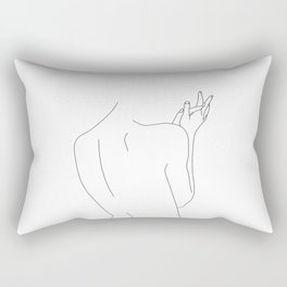 Nude figure line drawing illustration - Thelma Rectangular Pillow