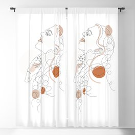 Pretty Woman Pastel Minimal Line Art Blackout Curtain