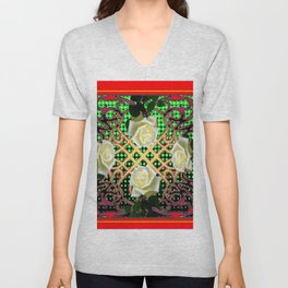 RED ORNATE WHITE ROSE TAPESTRY ART Unisex V-Neck