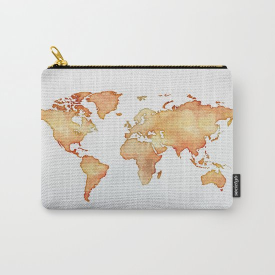 Brown World Map Carry-All Pouch
