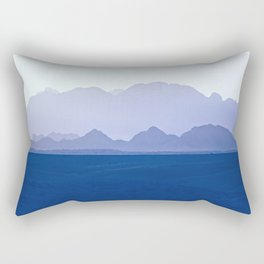 Mountains Range in Shades of Blue Rectangular Pillow
