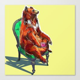 animals in chairs #20 The Bear at Tea Canvas Print
