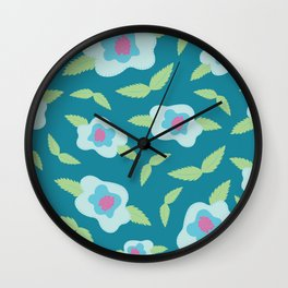 Floral Pattern in Minty Turquoise Wall Clock