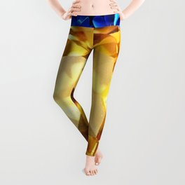 LARGE CHAMPAGNE TOPAZ GEM SEPTEMBER BIRTHSTONE ART Leggings