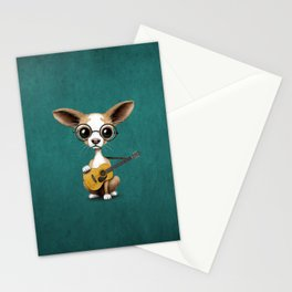 Chihuahua Puppy Dog Playing Old Acoustic Guitar Teal Stationery Cards