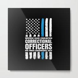 Christian Correctional Officers American Flag Metal Print