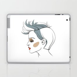 Woman with trendy haircut. Abstract face. Fashion illustration Laptop & iPad Skin