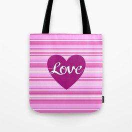 Love Script Heart on Stripes Pinks White Plum Tote Bag