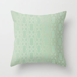 Simply Mid-Century in White Gold Sands and Pastel Cactus Green Throw Pillow