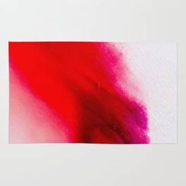Slow Burn: simple abstract ink on paper in red, purple, and pink Rug