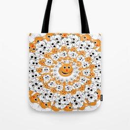 Creamsicle Calico Cat Mandala Tote Bag