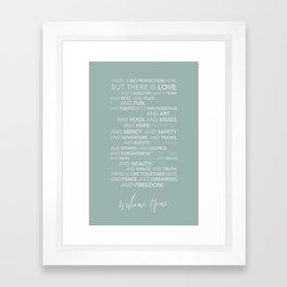 Family Manifesto (Teal) Framed Art Print