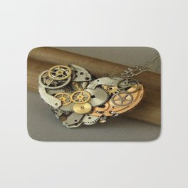 Steampunk Heart of Gold and Silver Bath Mat