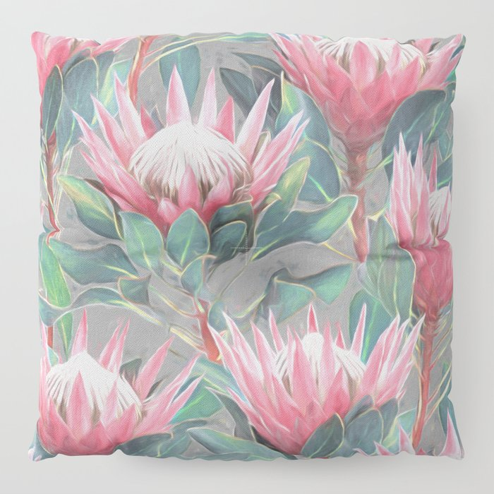 Pink Painted King Proteas on grey Floor Pillow