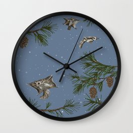 FLYING SQUIRRELS IN THE PINES (twilight) Wall Clock