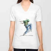 dancing V-neck T-shirts featuring dancing by digiartpicture