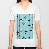planes V-neck T-shirts featuring Planes by Frances Roughton
