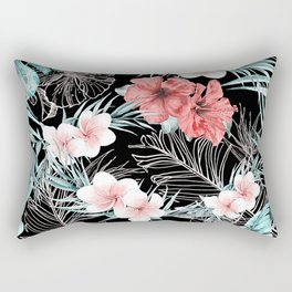 Black & Rose Gold Pink Island Paradise Rectangular Pillow