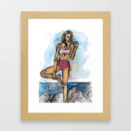 Fitness Girl Doing Yoga on the Beach Framed Art Print