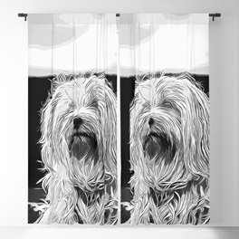 hairy havanese dog vector art black white Blackout Curtain