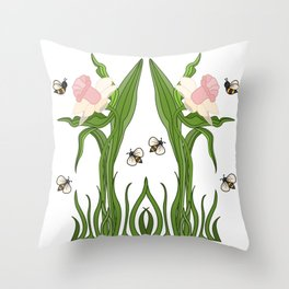Buzzed Daffodils Throw Pillow