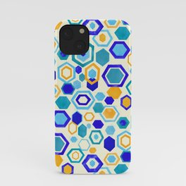Scattered Gouache Hexagons - Cream iPhone Case