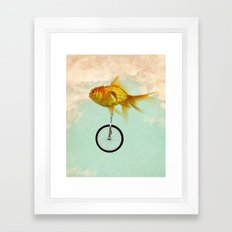 unicycle gold fish -2 Framed Art Print