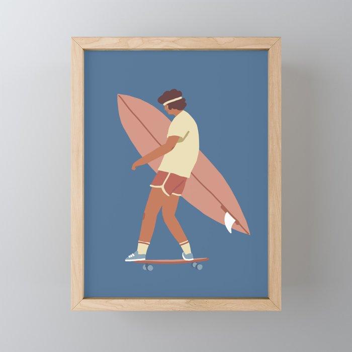 Surf poster Framed Mini Art Print