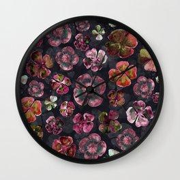 Watercolor Magenta Red Floral Wall Clock
