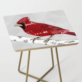 Cardinal Bird Lost Loved One Visiting Side Table