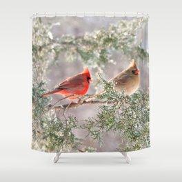 Hoarfrost Cardinals Shower Curtain