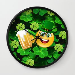 St. Patrick Day Emoticon Wall Clock