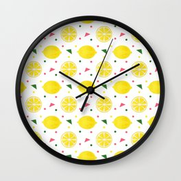 Sunshine yellow watercolor tropical lemon triangles dots pattern Wall Clock