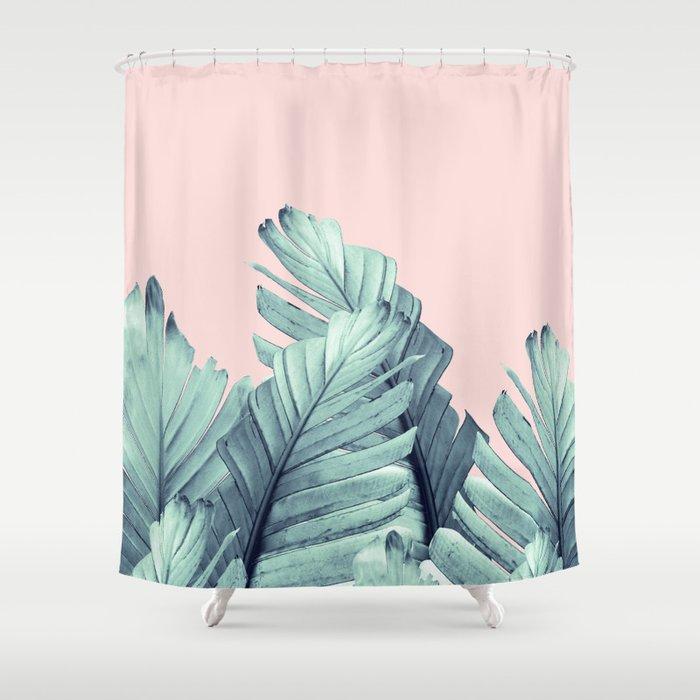 Blush Banana Leaves Dream 5 Tropical Decor Art Society6 Shower Curtain