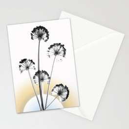 black and white flower wallpaper and the sun, flower decor, printable art Stationery Cards