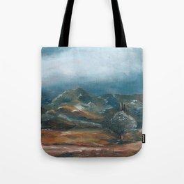 Storm brewing over rural landscape Tote Bag