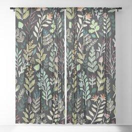 Dark Botanic Sheer Curtain