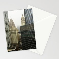 Chicago Buildings in Fog Color Photo Stationery Cards