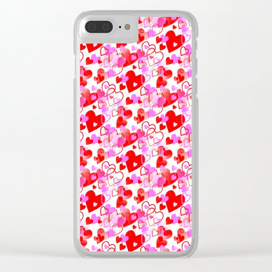 Flying Hearts Clear iPhone Case