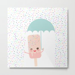 pink ice cream, ice lolly holding an umbrella. Kawaii with pink cheeks and winking eyes Metal Print