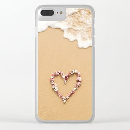 Shell Heart On The Beach Clear iPhone Case
