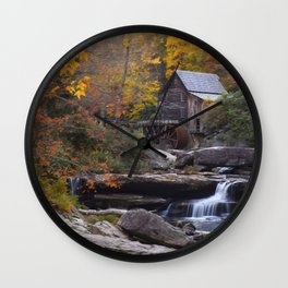 Glade Creek Grist Mill in Autumn II Wall Clock