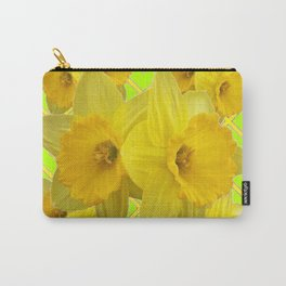 Lime Color & Yellow Daffodils Pattern Art Carry-All Pouch